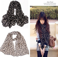 Black,Khaki dgh - Lovely Kitten Graffiti Lady Women s Chiffon Scarf Shawl Cats Pattern Neckerchief Muffle Designs Korean Style Colors DGH