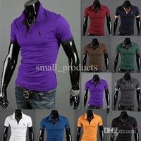Men Long Sleeve 100% Cotton Han edition men's fawn embroidery short sleeve POLO ten color of cultivate one's morality short sleeve free shipping