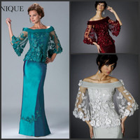 Wholesale 2014 Janique Hunter Exquisite Applique Crystal Bead Mother Of The Bride Dresses Off Shoulder Sheer Long Sleeve Sheath Mother Gowns Sexy