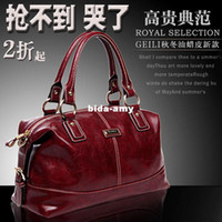 Wholesale Wax Oil Leather Casual Bags Women European Retro Doctor Shoulder Handbag Ladies Dresses New Fashion Totes BX110