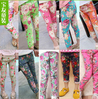 Wholesale Hot Sale New Girls Spring Summer Fashion Denim Trousers Floral Flower Printed Stretch Pants Children s Leggings