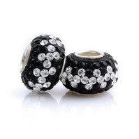 Wholesale Hot Sale Black White Rhinestones Sterling Silver Annular Jewelry Fit Fashion European Bracelet