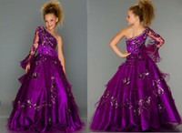 Model Pictures Baby Chiffon 2014 Charming dark purple one shoulder ball gown flower girl dresses pageant party dresses