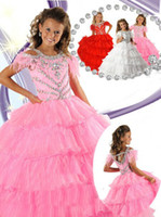 Model Pictures Baby Chiffon Ball Gown Jewel Cap Sleeves Floor Length Organza Pink Tiered Ritzee Long Little Girls Pageant Dresses Gown