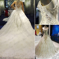 Ball Gown Model Pictures High Collar Arabic Expensive Real Sample High Neck Sheer Back Ball Gown Organza Lace Crystals Beaded Wedding Dresses