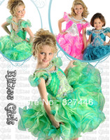 Model Pictures Toddler Beads 2014 Cute Puffy Cupcakes Ball Gown Rainbow Little Girl Pageant Gowns Flower Girl Dresses Party For Wedding Crystals Beaded Cap Sleeves