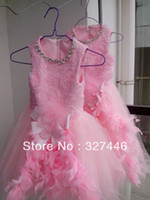 Cheap New Real Vintage Little Girls Ball Gown Pink Tank Toddler Bow Pageant Flower Girl Dresses Feathers Sashes Holiday Birthday Gowns