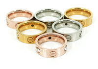 Wholesale Hot brand crystal CZ stones screw love rings silver rose gold colors L stainless steel screw finger rings jewelry for Valentine Day