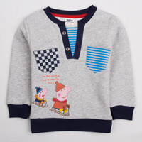 Boy Spring / Autumn O-Neck A4369# Gray Nova 18m-6y baby sweatshirts boys hooded hoodies kids cartoon clothes brushed fleece Peppa Pig hoodie sweater tops boy outwear