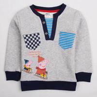Wholesale A4369 Gray Nova m y baby sweatshirts boys hooded hoodies kids cartoon clothes brushed fleece Peppa Pig hoodie sweater tops boy outwear