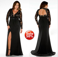 Wholesale 2015 Plus Size Prom Dresses Lady Evening Gown Formal With Mermaid V Neck Long Sleeve Backless Beads Sequins Crystal Black Lace Side Split