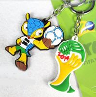 2014 Brazil World Cup Mascot Keychain 5cm PVC Silicone HOT Sale 2014 Brazil World Cup Mascot Keychain Souvenir Promotion Gift Item Sports Supplies 5pcs lot FT006