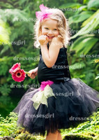 Wholesale 2014 Cute Flower Girls Dresses Ball Gown Jewel Neck With Flower Bow Sash Black Organza Knee Length Little Girls Pageant Gowns BO3368