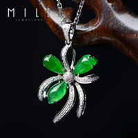 Pendant Necklaces ICY Leaf Mile jewelry crater full of ice jade green leaf flower diamond necklace natural emerald jade A cargo jade pendants