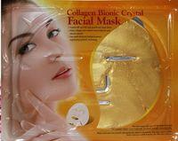 Wholesale 100pcs Gold Crystal Collagen Facial Mask Gold Collagen Masks Golden Anti wrinkle Full Facial Mask Whitening Moisturizing Shrink Pores