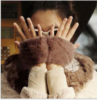 Wholesale Winter rabbit fur gloves half finger fur gloves computer gloves fashion accessories