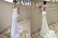 Wholesale 2014 Elie Saab Spring White Mermaid Court Hollow Back Spaghetti Strap Neckline Appliqued Garden Bridal Gown Lace Castle Wedding Dress