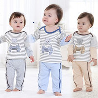 Unisex Spring / Autumn Long Baby Pajamas Boys Summer Suit Baby Underwear Two Pieces Set Clothing set For Children CC315