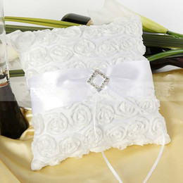 Wedding Ring Bearer Pillow Cushion White Sash Rose with Square Rinestone Buckle Special Wedding Favor Decoration