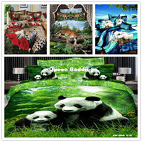 Adult Twill 100% Cotton 4 PCS Free Shipping 3D animal printed Fitted sheet (Rubber around) bed linen 3d bedding set