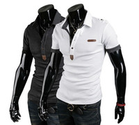 Men Cotton Polo Fashion New Men's Unique Epaulet design Slim fit Personality England Leather label Embroidery Lapel Short sleeve Cotton Polo T-shirt 2636