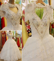 Ball Gown Model Pictures High Collar Arabic Style Real Sample High Neck Key-Hole Open Back Ball Gown White Organza Lace Crystals Pearls Beaded Wedding Dresses