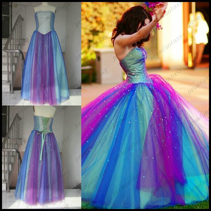 2015 Rainbow Tulle Colorful Ball Gown Wedding Dresses Factory Actual Images Cheap Strapless