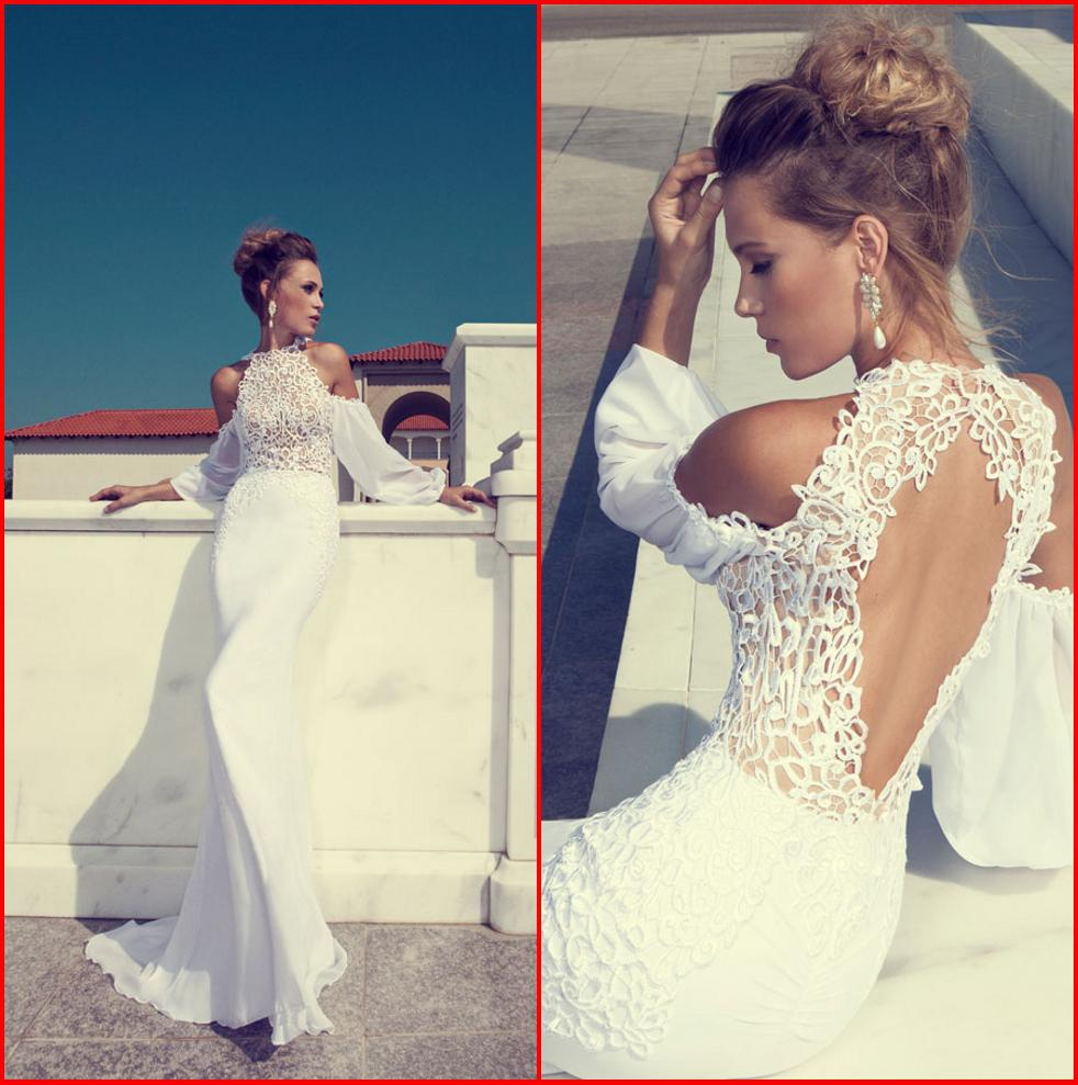 Julie Vino 2015 Wedding Dresses Lace High Neck Long Sleeve Sexy ...