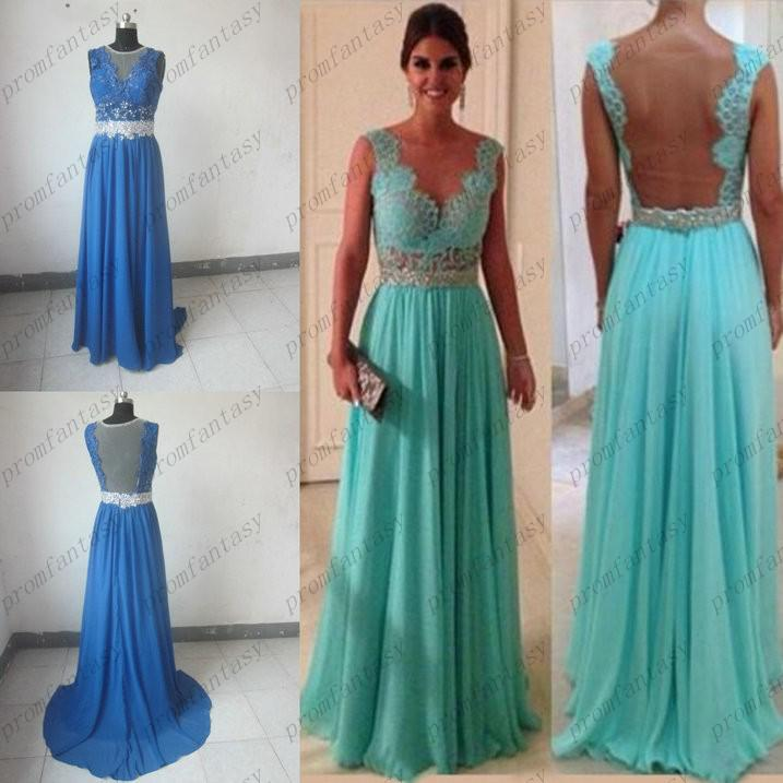 Real Samples Mint Lace Chiffon Evening Dresses 2016 Sheer Crew ...