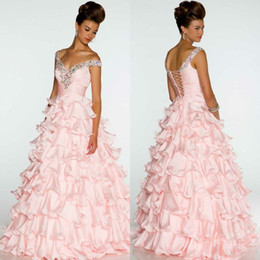 Wholesale 2014 New Arrival Quinceanera Dresses Colorful Crystal Beaded Off Shoulder Lace Up Ball Gown Ruffled Skirt Floor Length Organza Pageant Dress
