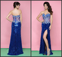 Wholesale 2014 Dazzling Sleevelss Floor Length Sexy backless See through Sequined Lace Fabric Beaded Evening Party Dresses sweetheart