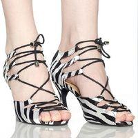 Tango/Flamenco Shoes ballroom latin dance shoes - Women Zebra Satin Dance Shoes Latin Ballroom Shoes Salsa Dance Shoes Party Dance Sandals Size