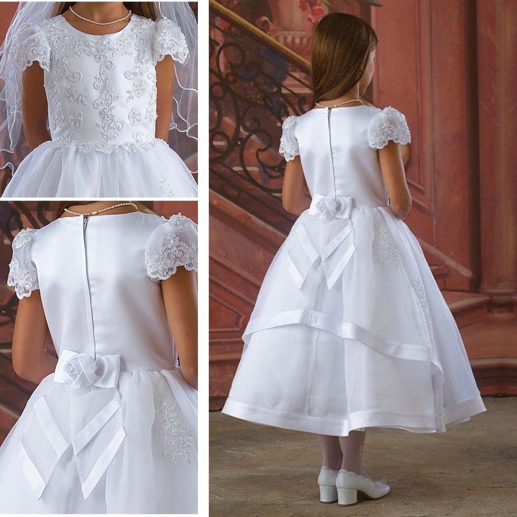 2015 White First Communion Dress Flower Girls Dresses For
