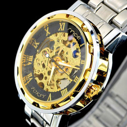 Free Shipping New Automatic Mechanical Skeleton watches Black Leather Wrist Silver Auto Men's Watch Men Full Steel Watch