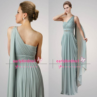 One-Shoulder ap summer - 2014 New Fashion Long Prom Dresses Sexy One Shoulder Pleated Chiffon Summer Beach Vintage Formal Evening Gowns AP