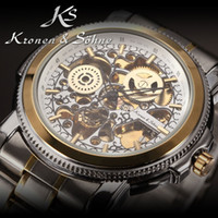 Wholesale Luxury KS Royal Carving Skeleton Steampunk Automatic Golden Stainless Full Steel Mechanical Dress Mens Mechanical Watch KS137
