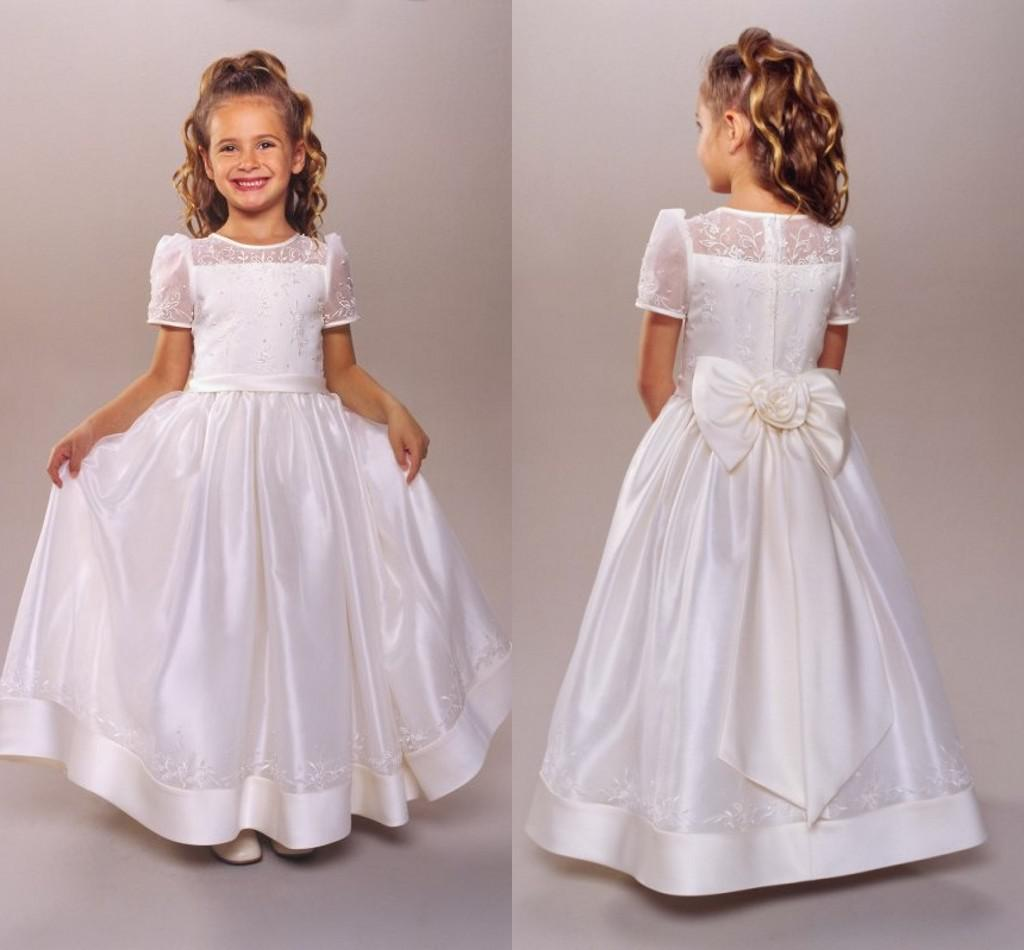 2015 First Communion Dress Flower Girls' Dresses With A-Line Sheer ...