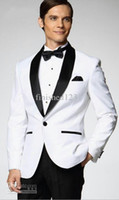 Reference Images Wool Blend Standard Wholesale - Top selling White Jacket With Black Satin Lapel Groom Tuxedos Groomsmen Best Man Suit Men Wedding Suits (Jacket+Pants+Bow Tie+Gi
