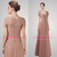 ap pictures - 2014 Sexy Long Prom Dresses Sweetheart Short Sleeve Pleated Appliques Tulle Lace Floor Length Vintage Mother Of the Bride Dresses AP