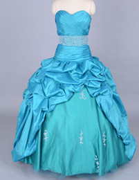 Wholesale 2014 Beautiful Sky Blue Quinceanera Dresses Ball Gown Sweetheart Floor Length Dress Appliques Beads Embroidery Crystals Pleat Taffeta Gowns
