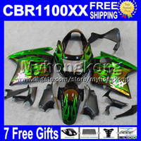 Wholesale For HONDA Blackbird CBR XX CBR1100 Green flames XX CBR1100XX Fairing