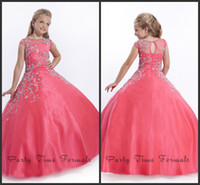 Wholesale 2014 New Hot coral Beads Bateau Sleeve Cap Floor Length Ball Gown Soft Tulle Zip up Back Long kids prom flower girl pageant dresses
