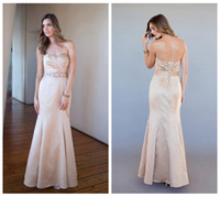 floor length satin dress - Sexy Strapless Sweetheart Ruched Champagne Satin Sleeveless Floor Length Mermaid Bridesmaid Dresses With Beads Custom Made New Arrival