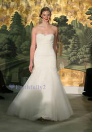 Wholesale 2014 New Arrival Elegant Sweetheart Sheath Brush Train Tulle Applique Wedding Dresses