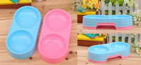 Wholesale Pet Supplies Plastic Dog Bowl Dog Connected Food amp Water Basin Double Bowls CF037