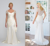 Attractive 2014 Sheath Wedding Dress Sweetheart Sheer Button...