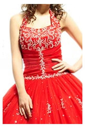 Wholesale Latest New Arrivals Red Princess Ball Gown Halter Floor Length Lace up Beads Sequins Applique Tulle Quinceanera Dresses with a Jacket