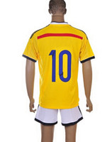 Wholesale Customized Colombia World Cup Home Yellow Soccer Jerseys Football Jerseys Soccer With Shorts Pants