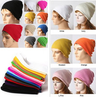 Wholesale Unisex Acrylic Knitted Hats Beanie Skull Caps Warmer Winter Ski Casual Accessory Solid Colors Hat Womens Mens