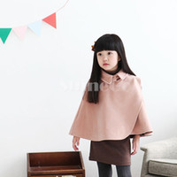 Wholesale Fashion Baby Kids Girl Outwear WoolenThicken Cape Poncho Shawl Cotton For Winter Spring Autumn
